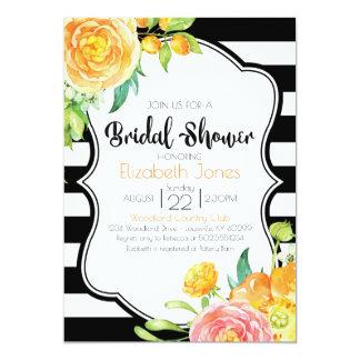 Invitation nuptiale florale noire et blanche de