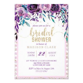Invitation nuptiale florale pourpre de douche de