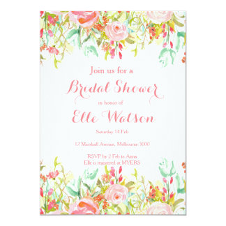 Invitation nuptiale florale rose de douche