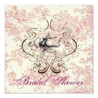 Invitation nuptiale florale rose de thé de douche