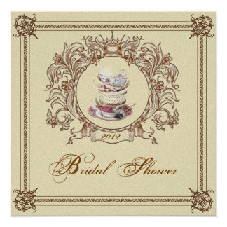 Invitation nuptiale royale vintage de thé de