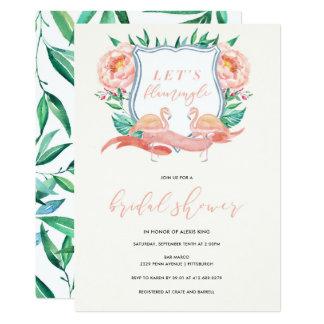 Invitation nuptiale tropicale de douche de flamant