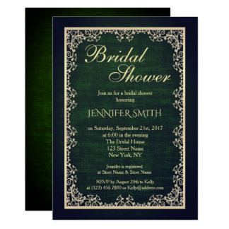 Invitation nuptiale vert royal vintage de douche