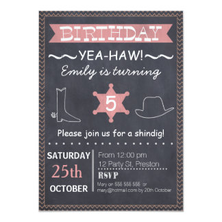 Invitation occidentale d'anniversaire de tableau