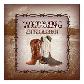Invitation occidentale de mariage campagnard de