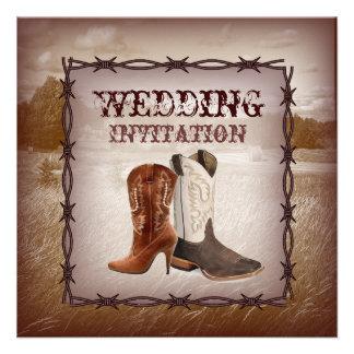 Invitation occidentale de mariage campagnard de bo