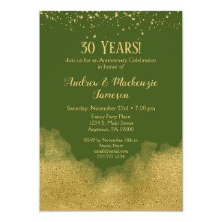 Invitation olive d'anniversaire de confettis d'or