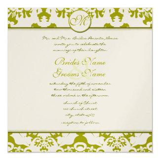 Invitation olive de mariage damassé de chaux de