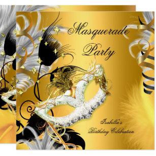 Invitation Or De Noir De Masque Danniversaire De Partie De