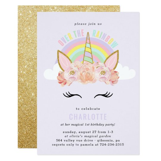 Invitation Or De Rose D Invitation D Anniversaire De Licorne Zazzle Fr