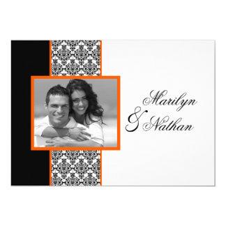 Invitation orange blanc noir de mariage de photo