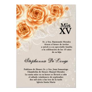invitation orange d'anniversaire de Quinceanera