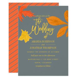 Invitation orange de mariage de automne d'automne