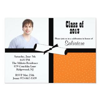 Invitation orange d'obtention du diplôme de photo