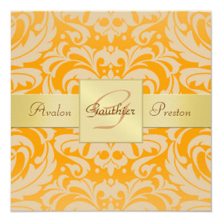 Invitation orange lumineuse de ruban de monogramme