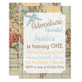 Invitation orienté d'anniversaire de voyage