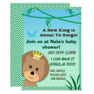 Invitation orientée de baby shower de lion de