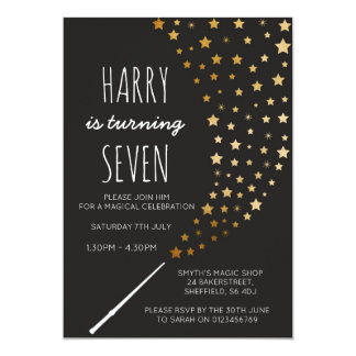 Invitation orientée magique de fête d'anniversaire