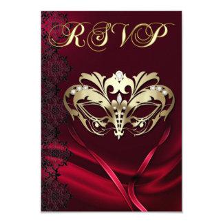 Invitation ornée de bijoux rouge de la mascarade