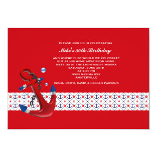 Invitation partie d'ancres carton d'invitation  12,7 cm x 17,78 cm