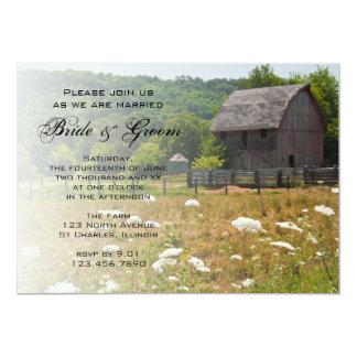 Invitation patinée de mariage campagnard de grange