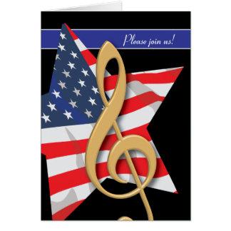 Invitation patriotique de musique cartes de vœux