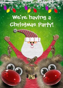 3b24800b3eef Invitation Père Noël mignon et fête de Noël pelucheuse de