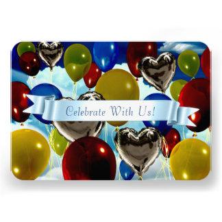 Invitation personnalisable arrondie de ballons pro