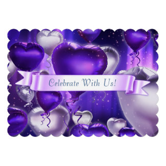 Invitation personnalisable crantée de coeur de bal