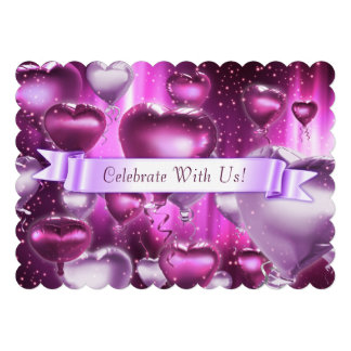 Invitation personnalisable crantée de coeur rose d