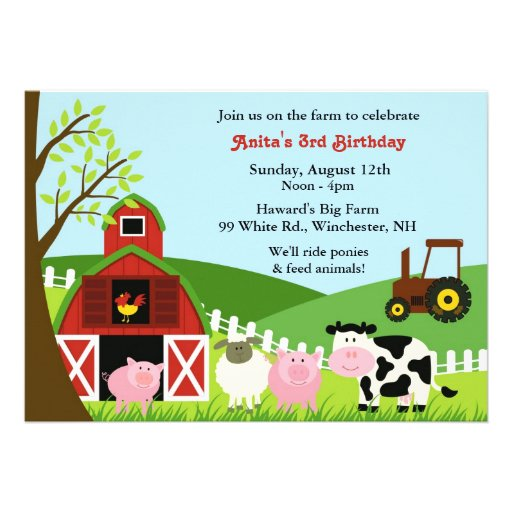 Invitation plate d'animaux de ferme d'anniversaire de Zazzle.fr