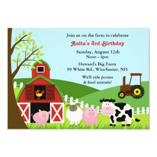 Invitation plate d'animaux de ferme d'anniversaire