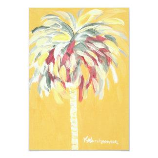 Invitation plate de carte de palmier jaune canari