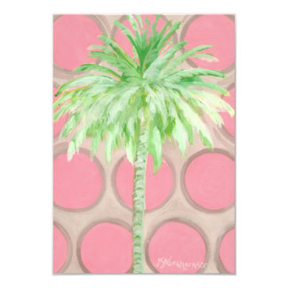 Invitation plate de carte de polka de palmier rose
