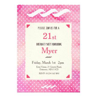 Invitation pour aquarelle rose d anniversaire