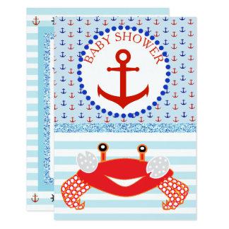Invitation pour la plage de baby shower de crabe