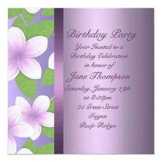 Invitation pourpre d'anniversaire de Frangipani