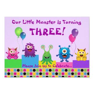 Invitation (pourpre) d'anniversaire de monstre