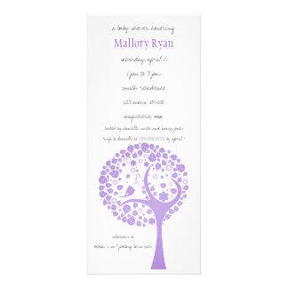 Invitation pourpre de baby shower d arbre fleuriss