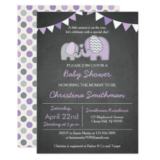Invitation pourpre de baby shower d'éléphant