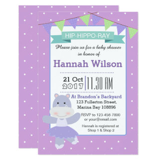 Invitation pourpre de baby shower d'hippopotame de