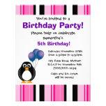 Invitation pourpre de partie de pingouin de rose m