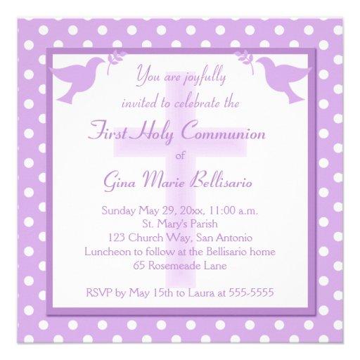 Invitation pourpre de sainte communion de point de
