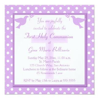 Invitation pourpre de sainte communion de point de carton d'invitation  13,33 cm