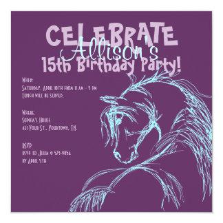 Invitation pourpre et turquoise d'anniversaire de carton d'invitation  13,33 cm