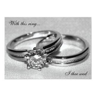 Invitation réglée de mariage d'anneau de noces de