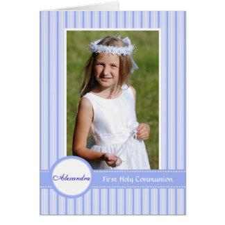 Invitation religieuse bleue rayée de photo carte de correspondance