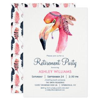 Invitation rose chic de partie de retraite de