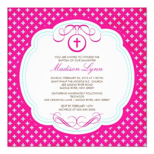 Invitation rose croisée douce de baptême de bébé