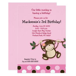 Invitation rose d'anniversaire de fille de singe
